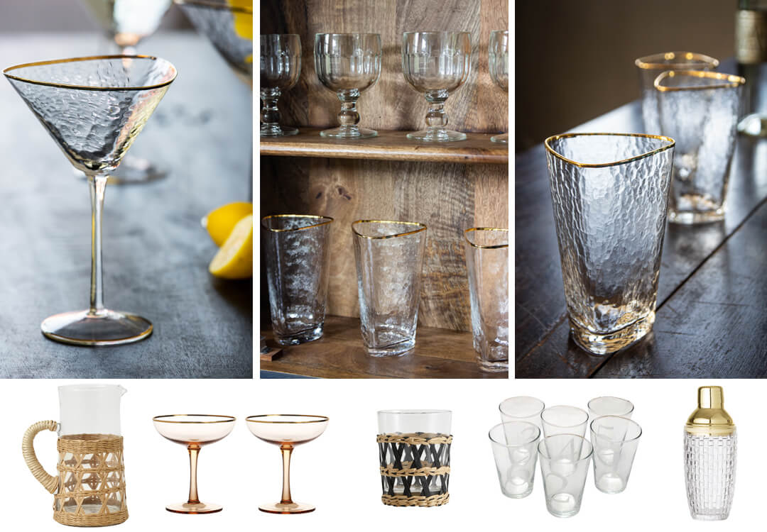 lifestyle images of gorgeous glassware for home bar ideas