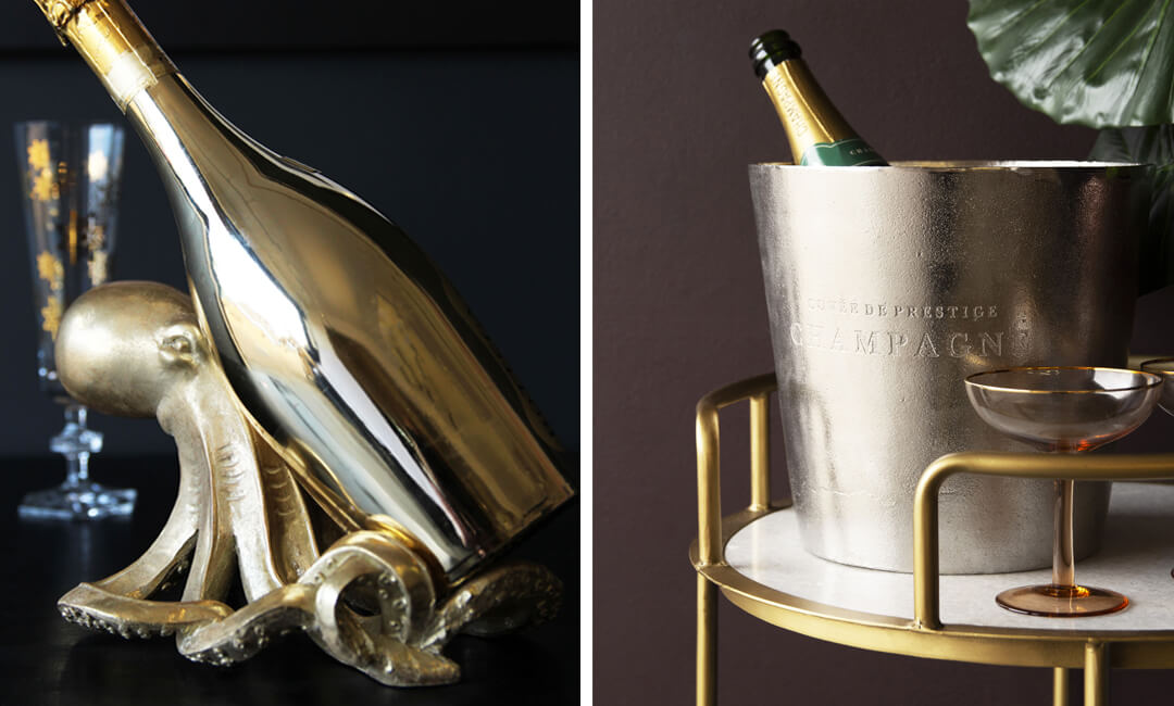lifestyle images of home bar accessories ideas with champagne buckets and holders