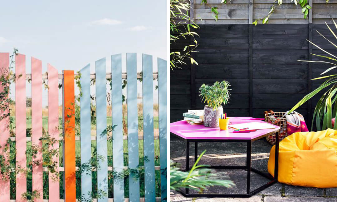 lifestyle images of painted fences in the garden