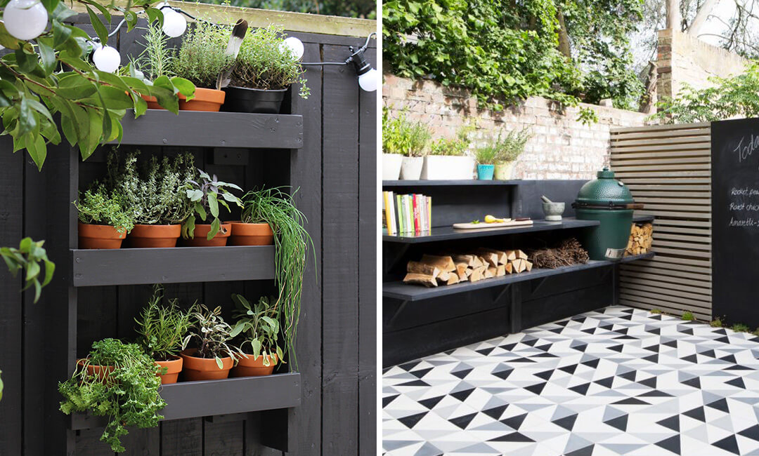 lifestyle images of painted garden shelves
