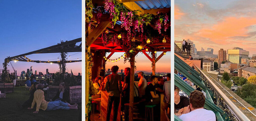 grid of three images of rooftop bars.