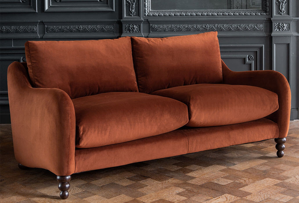 beautiful-large-3-seater-sofa-umber-rust-velvet