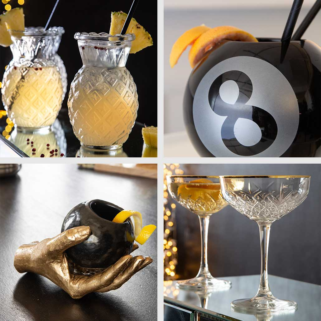 collage-of-four-cocktail-glasses-pikes-x-rockett-st-george-collection