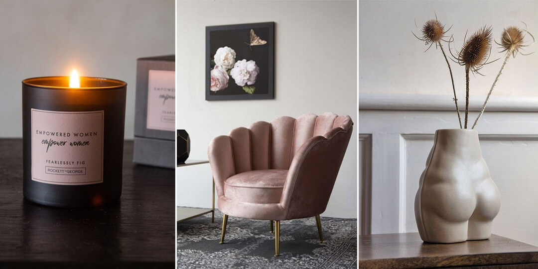 black and pink scented candle pink petal armchair and bum vase