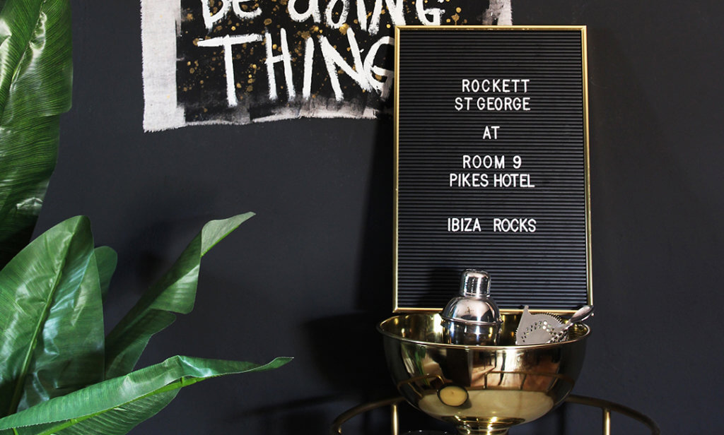 image of a black cinema board with Rockett St George at Room 9 Pikes Hotel typography