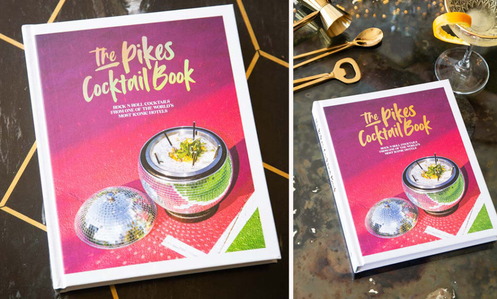 Two images of the Pink Pike Cocktail Recipe Book
