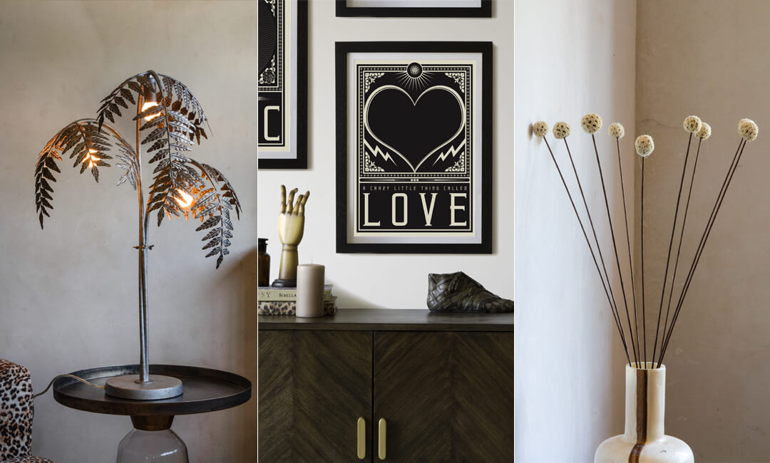 lifestyle images of autumn winter styling with lamps, art and accessories