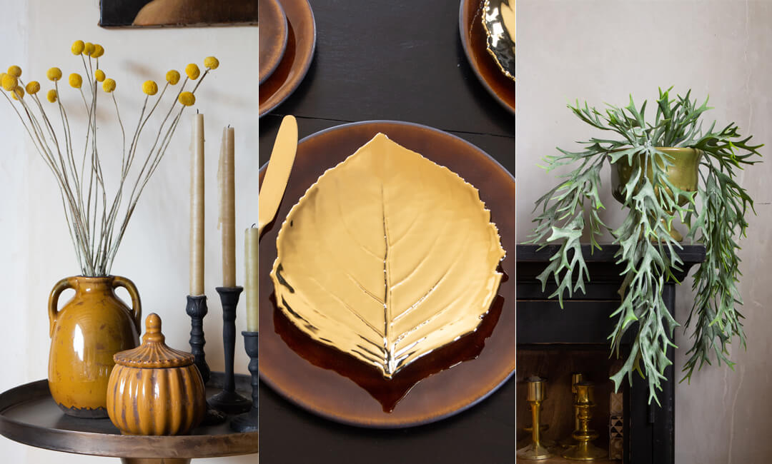 lifestyle images of styling autumn winter accessories with plants, ceramics and vases