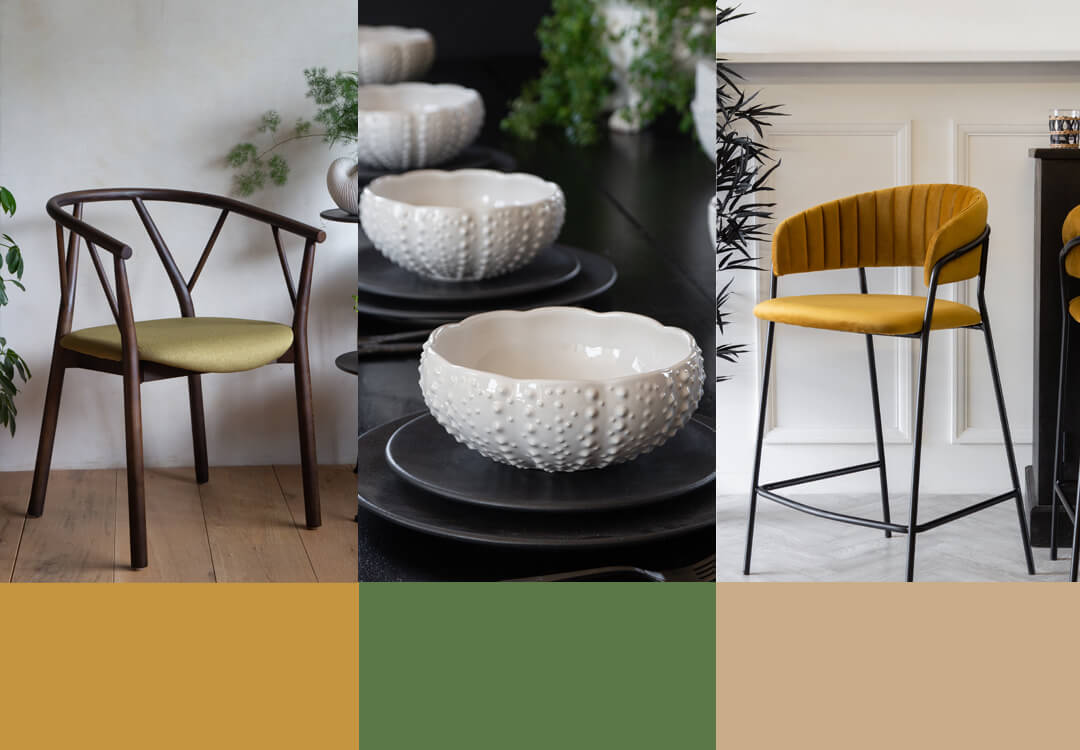 lifestyle images of autumn winter colour palettes, furniture and accessories for the home