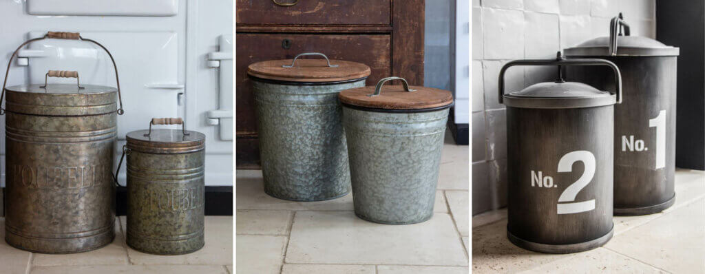 grid image of three sets of tin compost bins for the kitchen.
