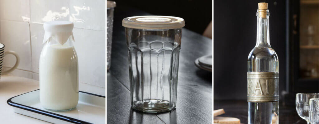 beautiful glass bottles, cups and a silicone lid for milk bottles