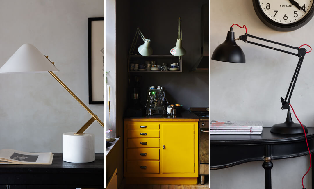 lifestyle images of task lights in kitchen and office spaces