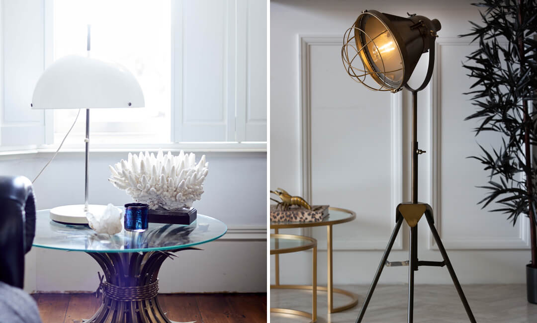 lifestyle images of side and floor lights