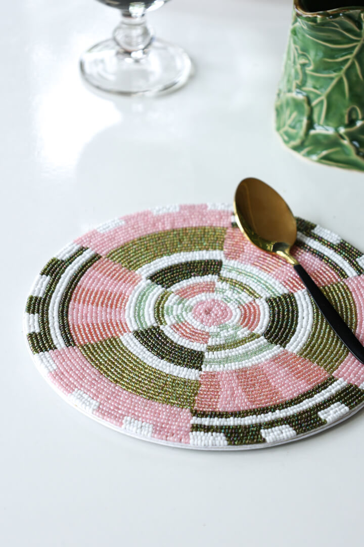 blush beaded placemat