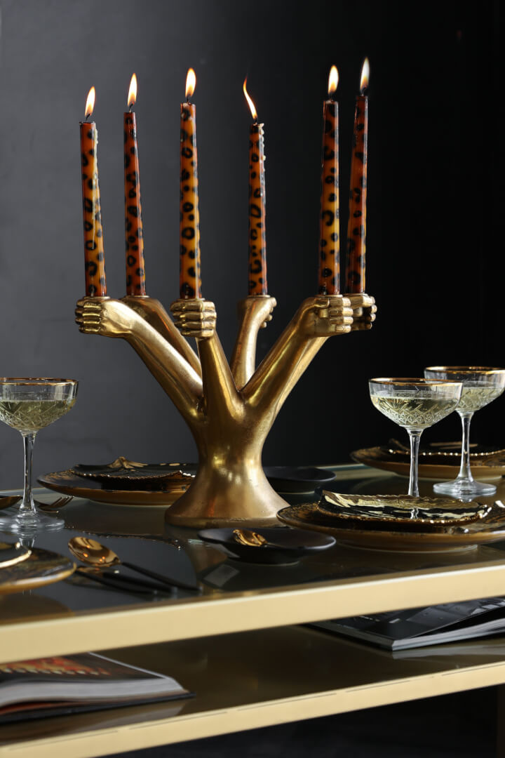 hand candelabra and leopard candle