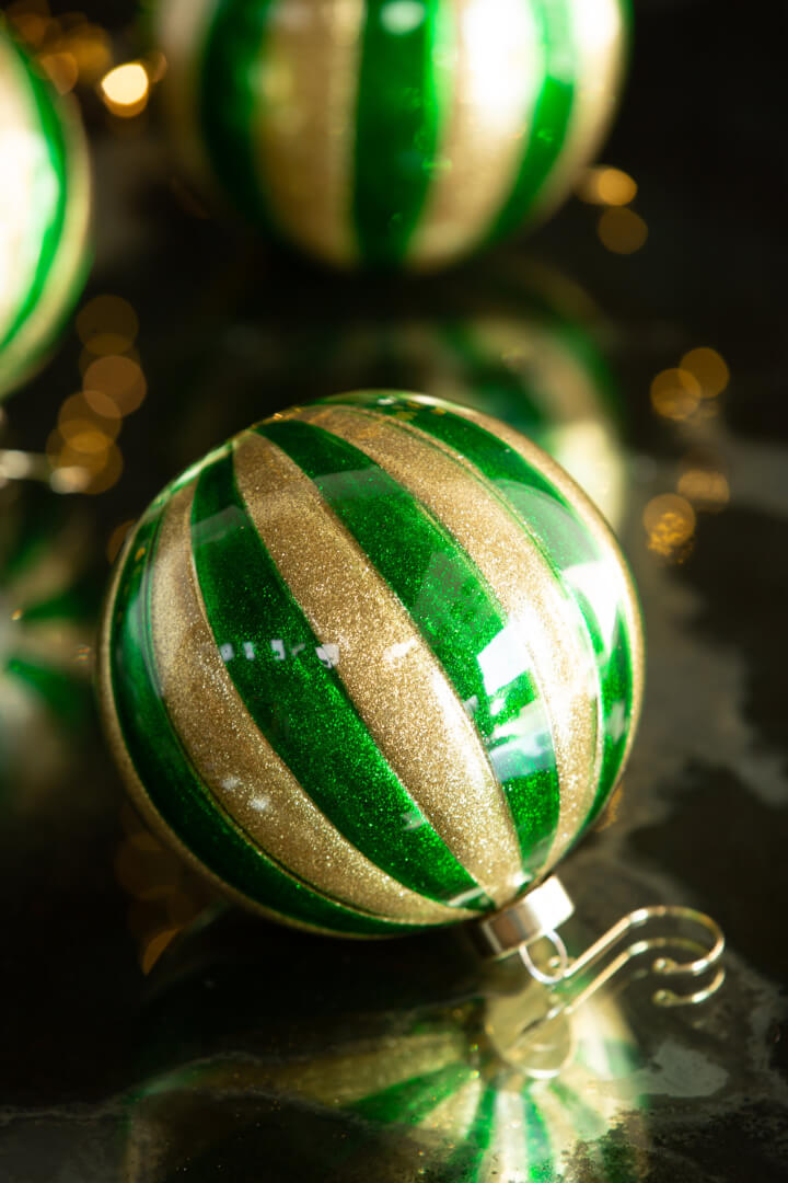 gold and green stripe bauble