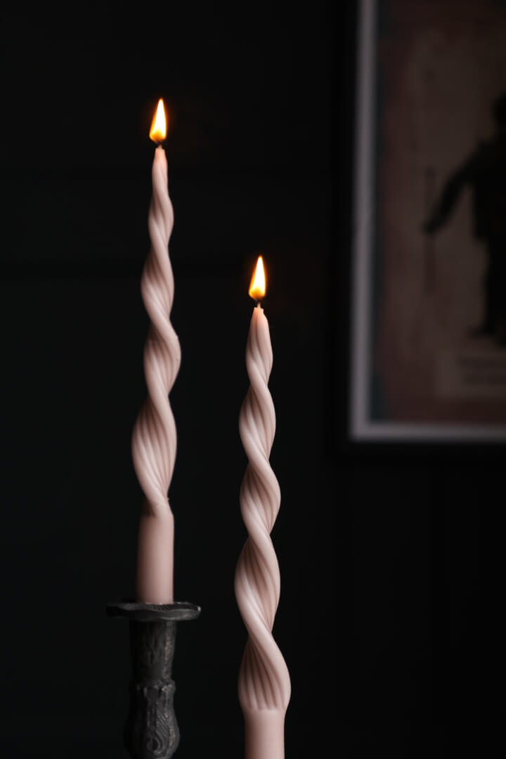 pink twisted candles