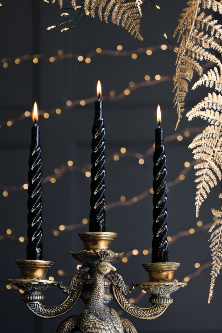 inky black twisted candles
