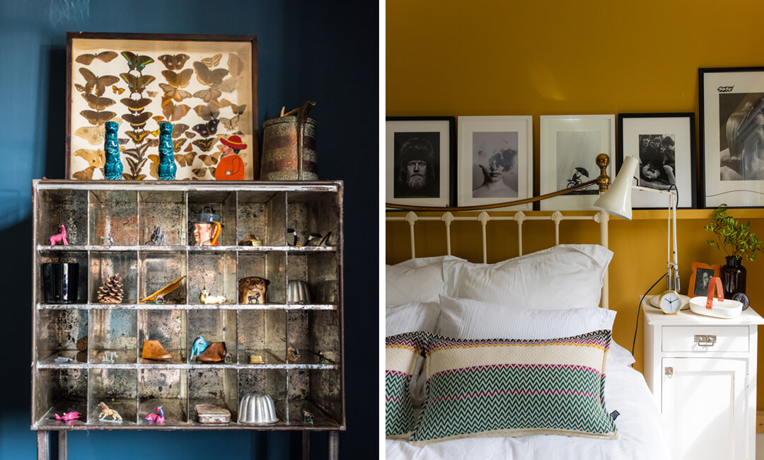 lifestyle images from The Home page of a display shelf and ochre bedroom