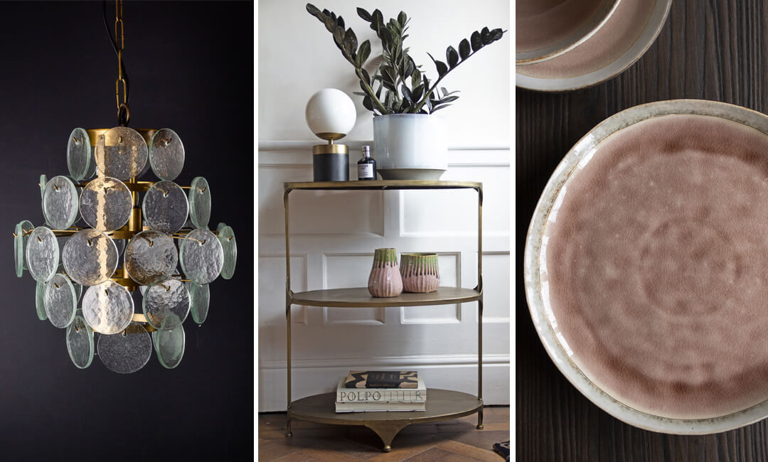 lifestyle images of a glass chandelier, brass shelf unit and pink dinner plates from Rockett St George