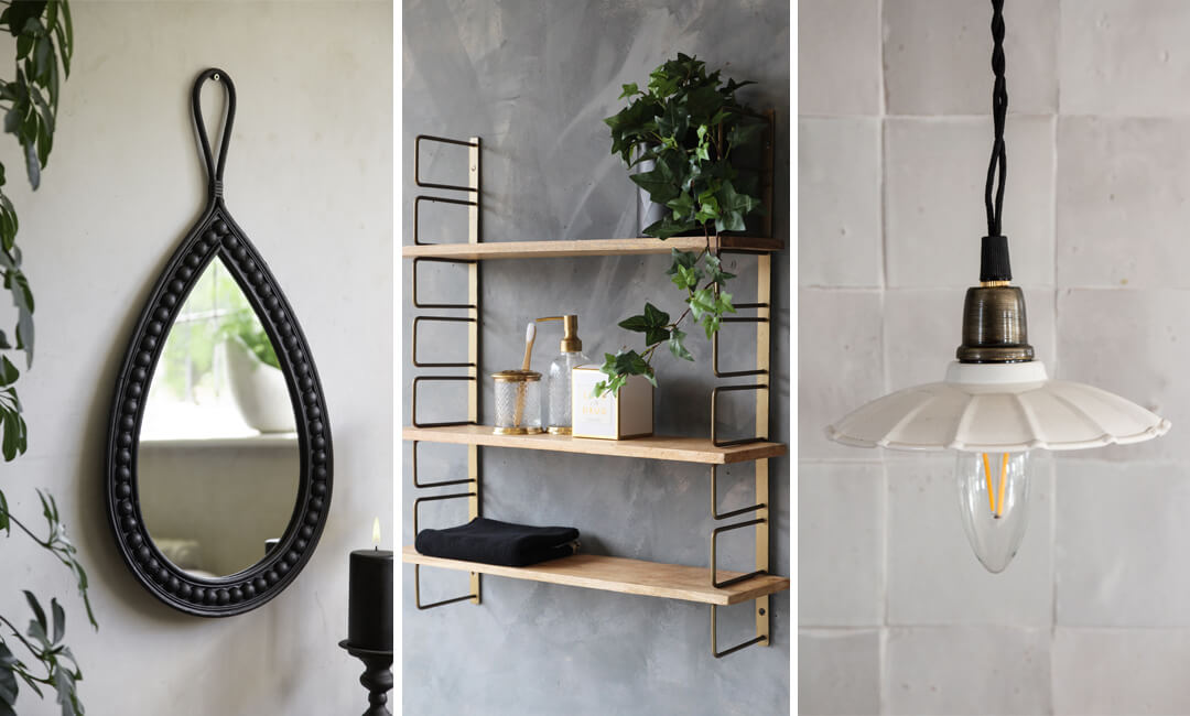 lifestyle images of a black mirror, industrial wood shelf unit and antique white pendant light from Rockett St George