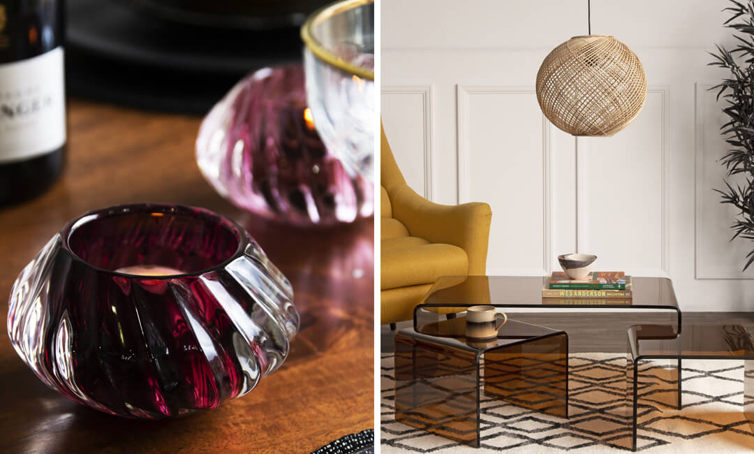 lifestyle images of tea lights and glass coffee tables for 2021 interior trend edit for coloured glass