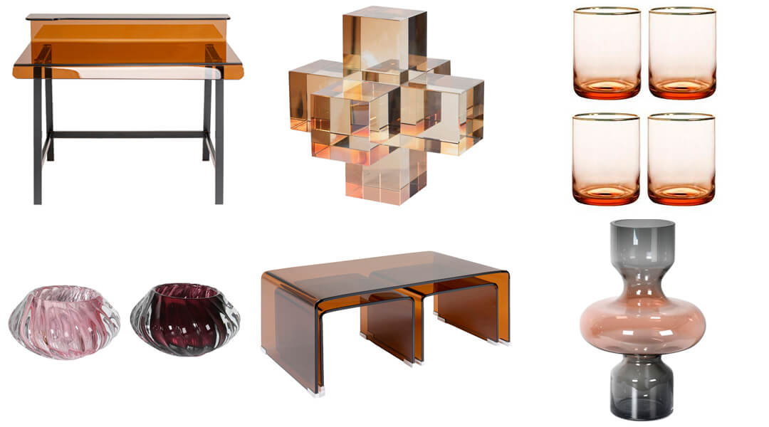 product images of coloured glass furniture and home accessories