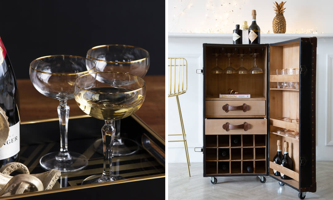 lifestyle images of glassware and a faux leather bar trunk for the 2021 interiors trend happy hour