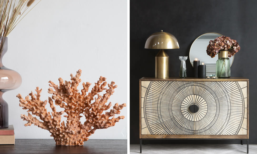 lifestyle images of coral ornament and wood sideboard for the 2021 interiors trend mindfulness