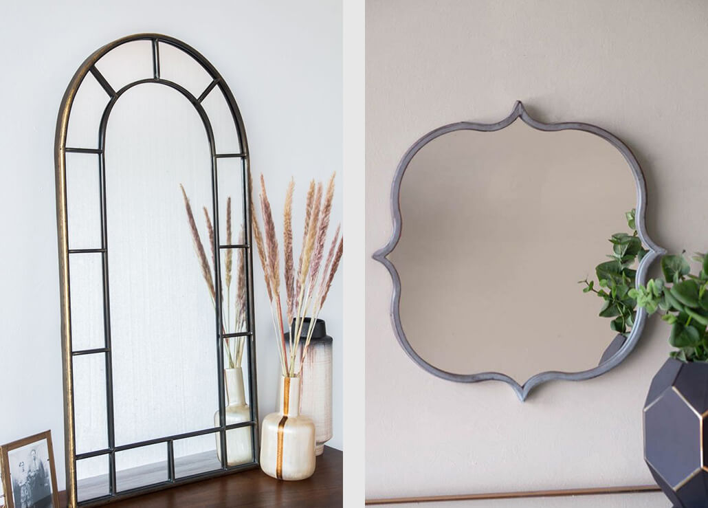 gold arched window mirror