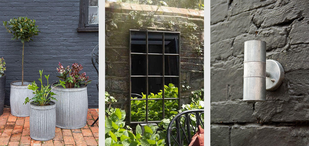 Grid of 3 images of a set of 3 galvanised planters in a garden, an outdoor mirror hanging on the wall and an outdoor light.