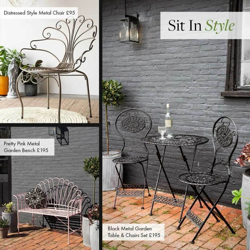 Grid of 3 images of outdoor furniture, including a black metal table and chair set, metal wire chair and pink metal bench.