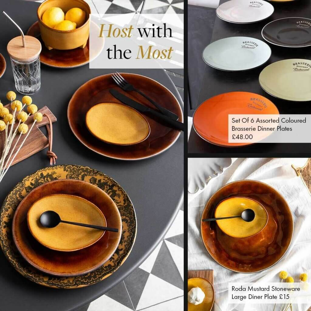 three images of orange and mustard plates and side plates with the text - Host With The Most.