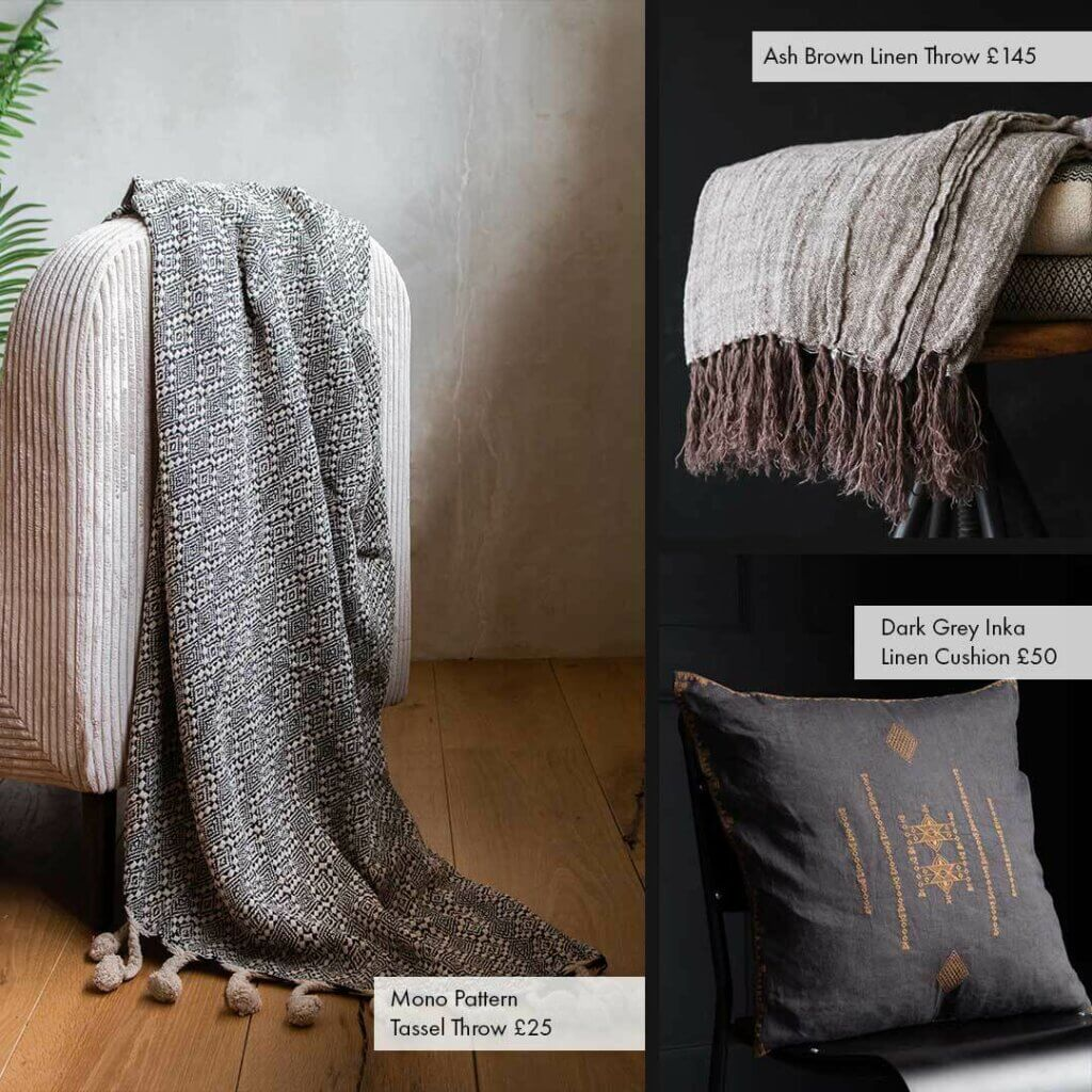 Image of two beautiful throw blankets and one black and burnt orange cushion.