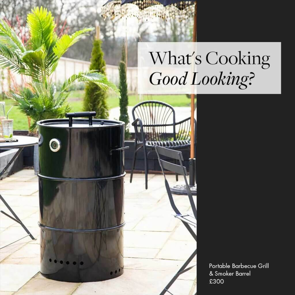 Image of a black portable BBQ with the words: 'what's cooking good looking?'