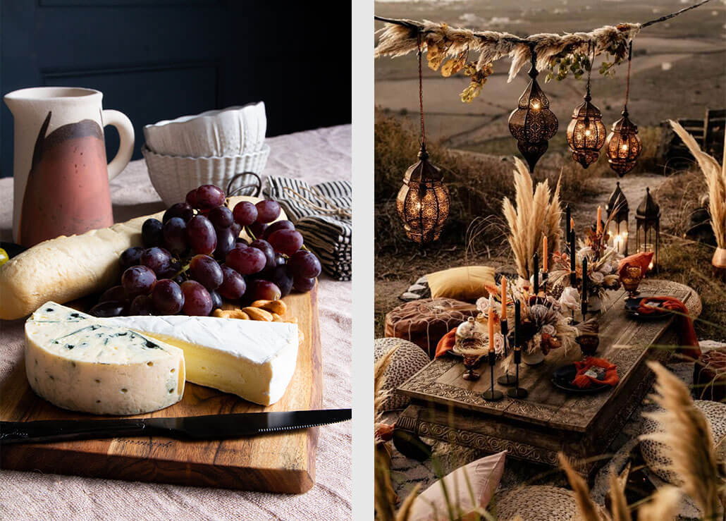 bread board with a selection of soft cheeses. Image on right features an alresco dining scene with hanging lanterns