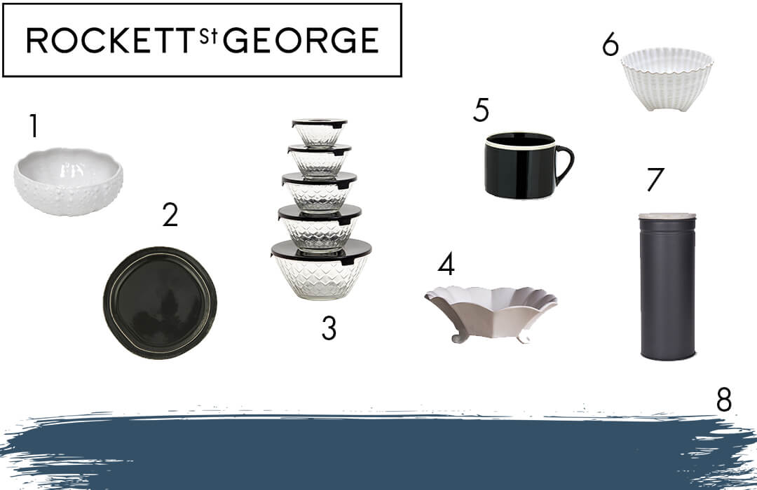 get the look image featuring plates, bowls and coffee mugs