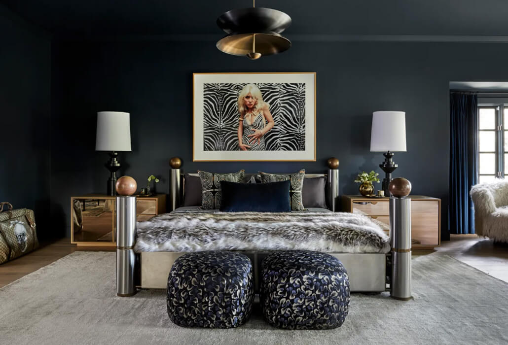 miley cyrus' dark bedroom with zebra print art, faux fur throws, pouffe and table lamps
