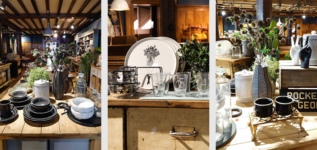 three images of kitchen accessories. Including tableware, glassware and coffee mugs