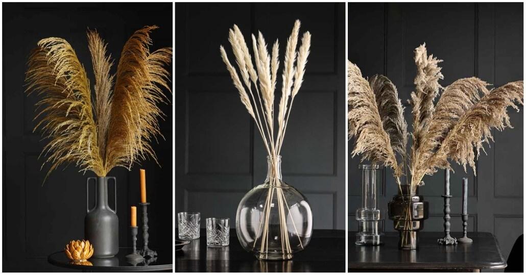 Bottleneck vases with pampas grass