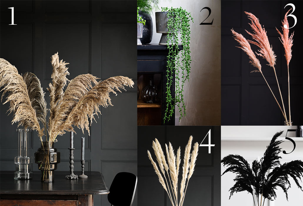 pampas grass and faux plants